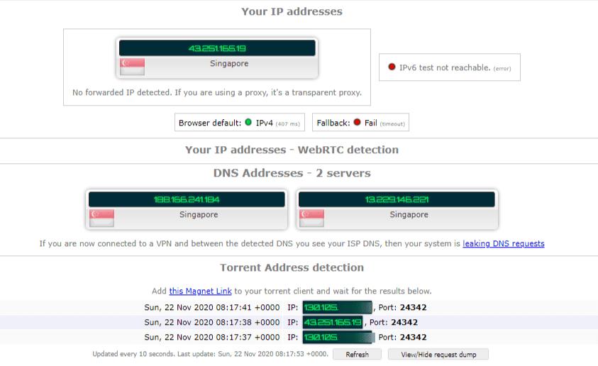 Torrenting Leak Test – VyprVPN Singapore