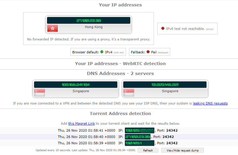 Torrenting Leak Test – Singapore