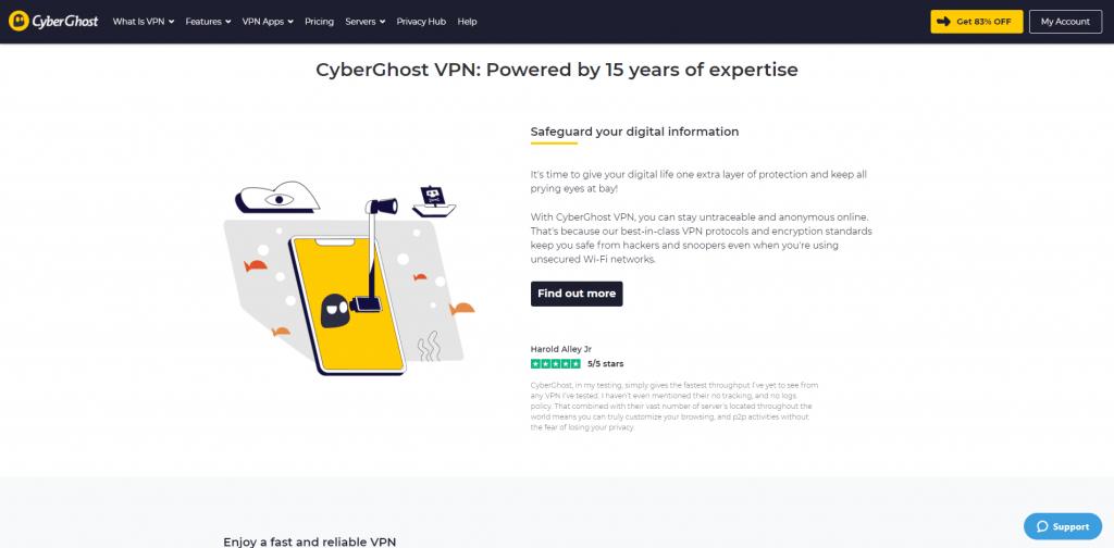 cyberghost homepage