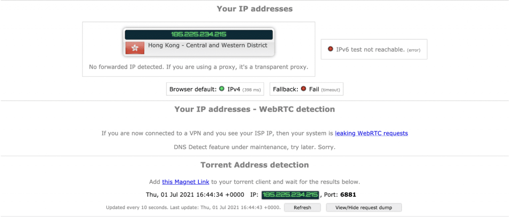 Torrenting Leak Test – NordVPN Hong Kong