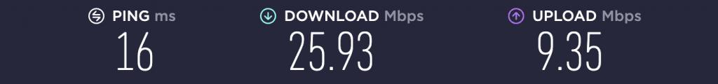 Speed Test – No VPN